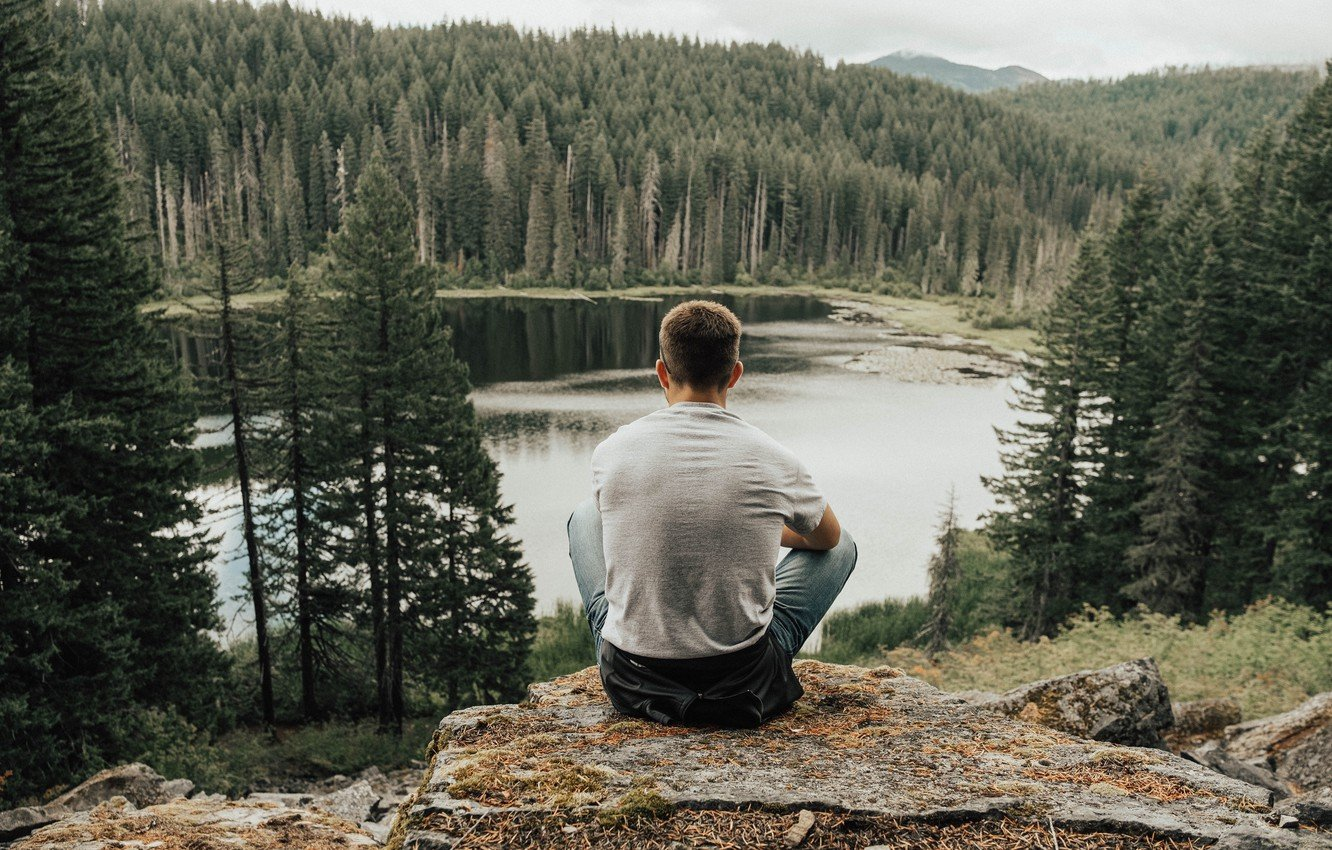mood-man-man-sitting-lake-forest-trees-rocks-stones-mountain